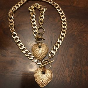 Gold heart necklace set